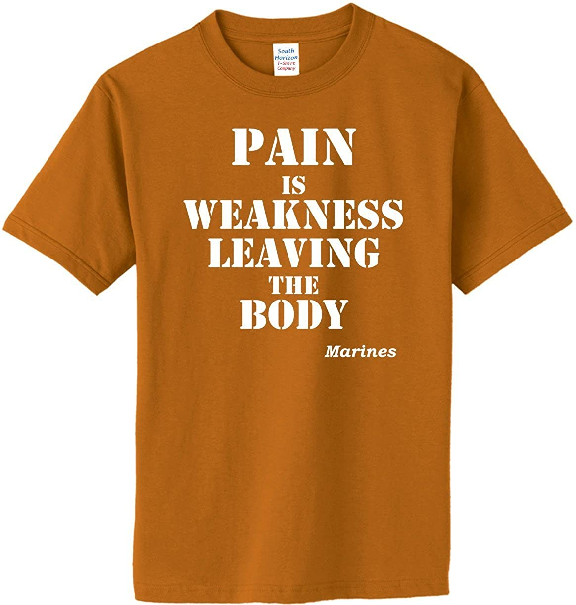 Amazon.com  Pain Is Weakness Leaving The Body - Marines on Adult   Youth  Cotton T-Shirt (in 26 colors)  Clothing e2a25b0d71