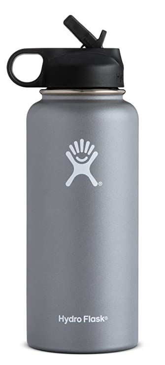 Hydro Flask Water Bottle   Stainless Steel &Amp; Vacuum Insulated   Wide Mouth With Straw Lid   Multiple Sizes &Amp; Colors by Hydro Flask