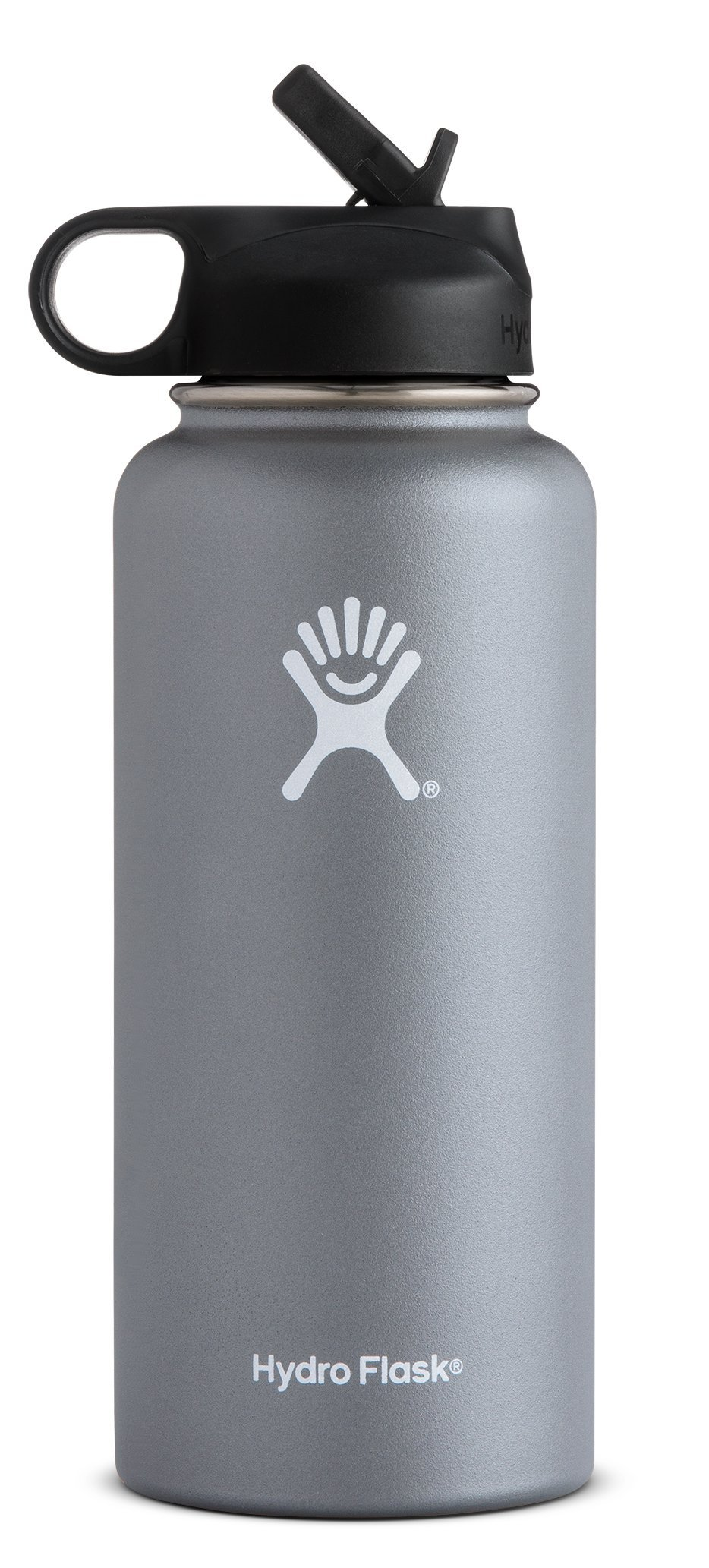 Hydro Flask Vacuum Insulated Stainless Steel Water Bottle Wide Mouth with Straw Lid (Graphite, 40-Ounce)