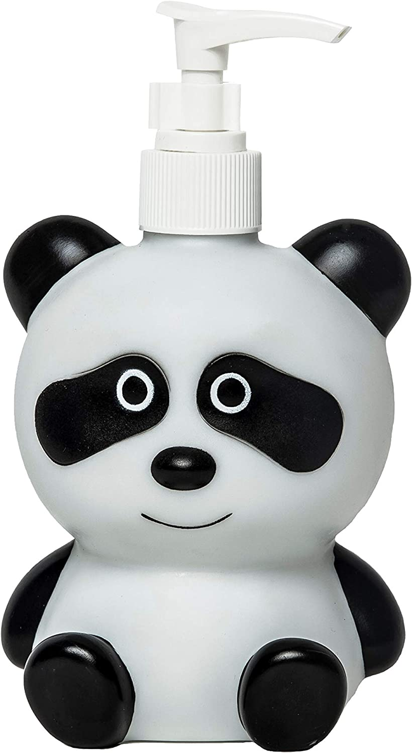 FAPU Vinyl Panda Refillable Hand Soap Pump Dispenser Lotion Shampoo Sanitizer Bottle 11.8oz Kids Adults Friendly for Kitchen and Bathroom Accessories Cute Animal Look (White)