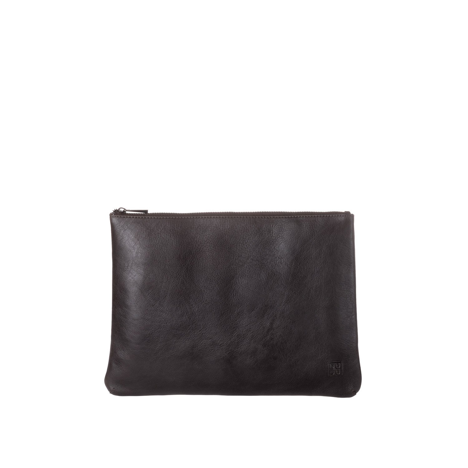 DUDU Clutch Bag Purse with Handle for ladies and men in Real Leather Slim & Large Handbag with Zipper closure - Isa - Dark brow by DuDu