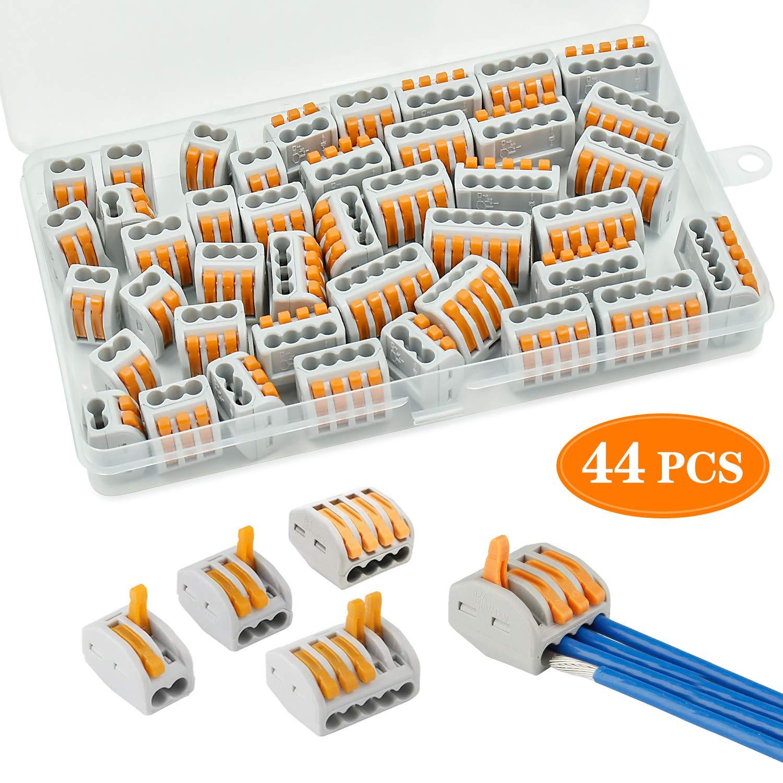 Compact Connettore Connessione Automatica cococity 44 Pezzi PCT Molla Connettore Morsettiera Kit 4//5 Porte Cavo Connettore Rapido per Fai da te 2//3