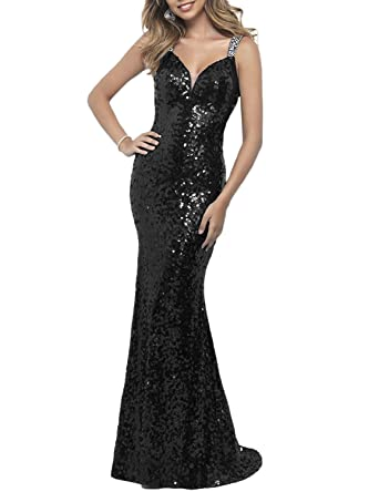 Luccatown Womens Mermaid Sequined V Neck Long Prom Dress Backless Evening Formal Gowns Black ...