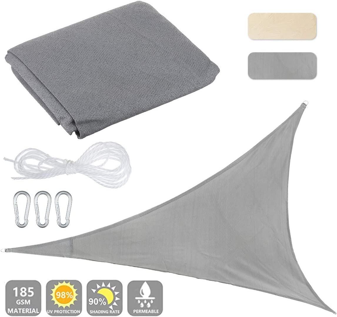Slimerence 12 x12 x12 Triangle Sun Shade Sail, Sand UV Block Cover Shelter for Outdoor Patio Lawn Garden Backyard Grey