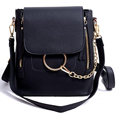 73b2b05fb5 Amazon.com  BABORRY Women Crossbody Chain Backpack Purse Small Pu Designer  Leather Shoulder Bag for women Ladies Black Handbags (Black)  Shoes
