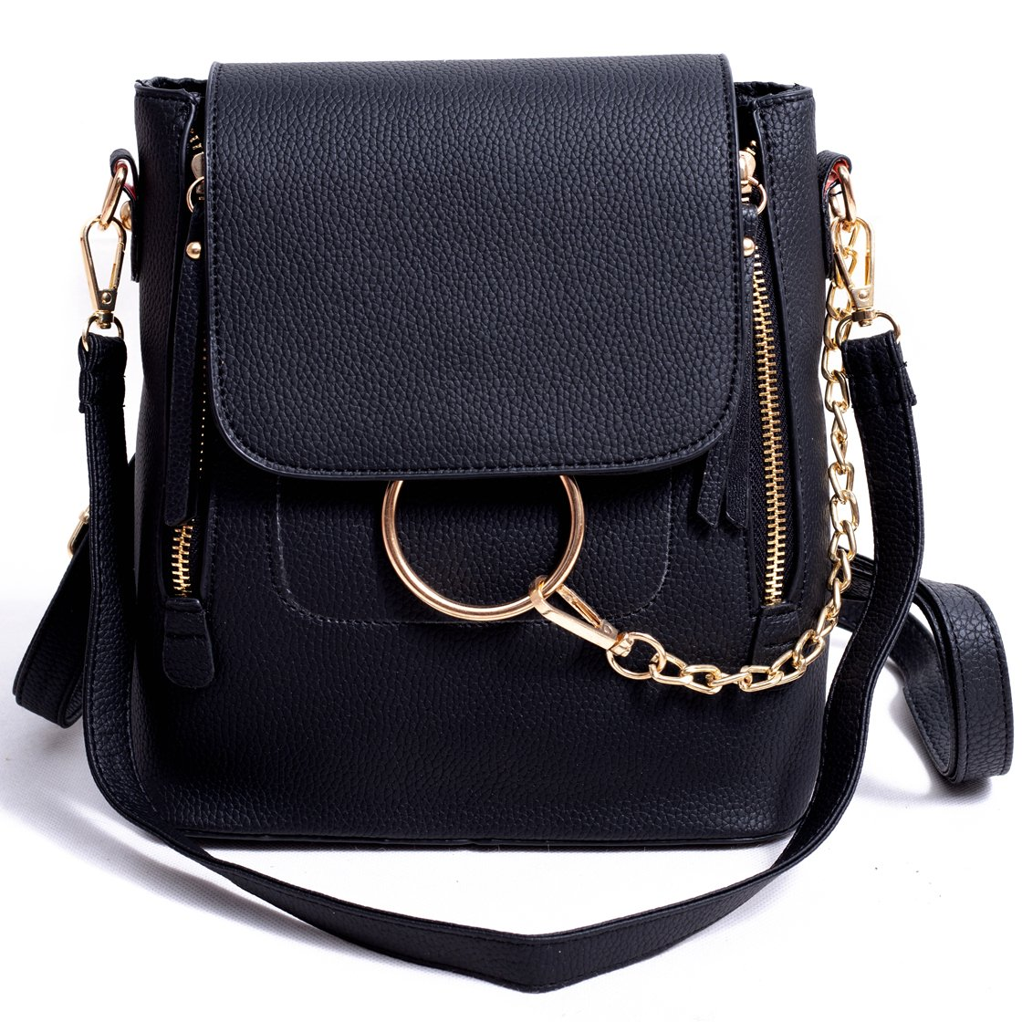 BABORRY Women Crossbody Chain Backpack Purse Small Pu Designer Leather Shoulder Bag for women Ladies Black Handbags (Black)