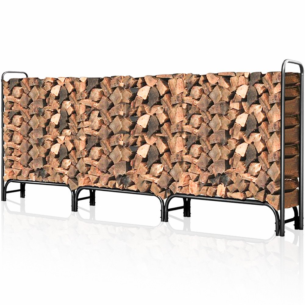 Outdoor Firewood Log Rack for Fireplace 12ft Heavy Duty Firewood Pile Storage Racks for Patio Deck Metal Log Holder Stand Tubular Steel Wood Stacker Outside Fire place Tools Accessories Black