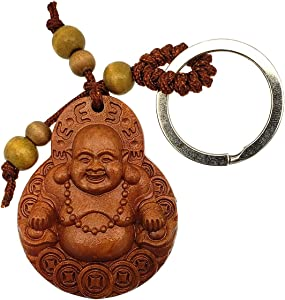 Betterdecor Feng Shui Peach Wood Money Happy Laughing Buddha Key Ring Amulet for Wealth Luck