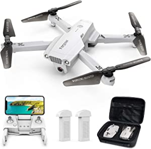 Tomzon D65 GPS Drone with Camera for Adults 4K UHD, Foldable FPV RC Quadcopter with Auto Return Home, Follow Me, Tap Fly, Circle Fly, MV Mode, 2 Batteries for 40 Min and Carrying Case