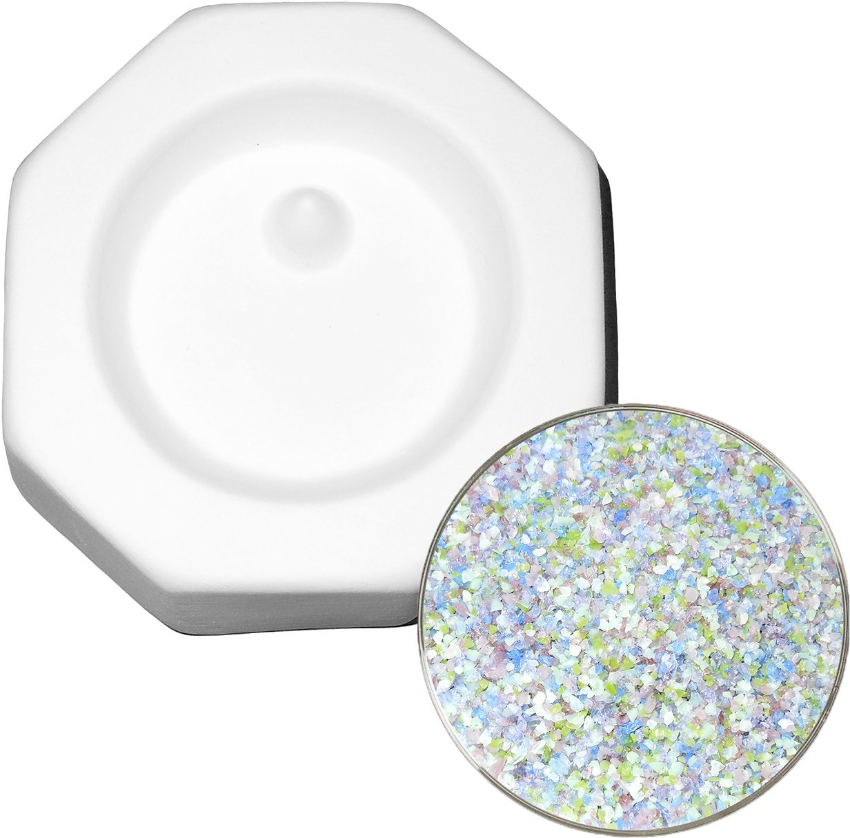 Circle Pendant with Hole and Designer Fusible Glass Frit Sampler Kit, 90COE - Fusible Glass Jewelry Mold New Hampshire Craftworks