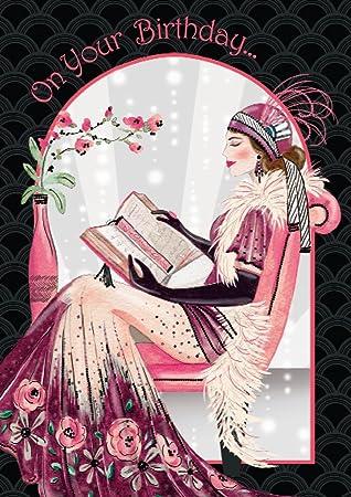 Art Deco Lady On Your Birthday Birthday Card Amazon