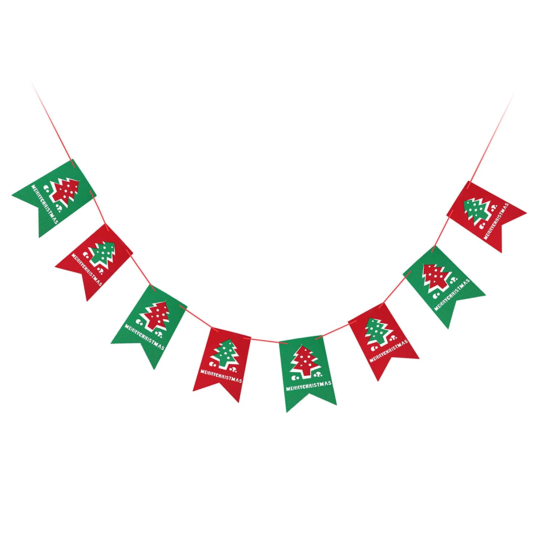AMAZECO Christmas Flag Banners, Home Decor Bunting Garlands Sign Christmas Party Decor Holiday Christmas Tree Flag
