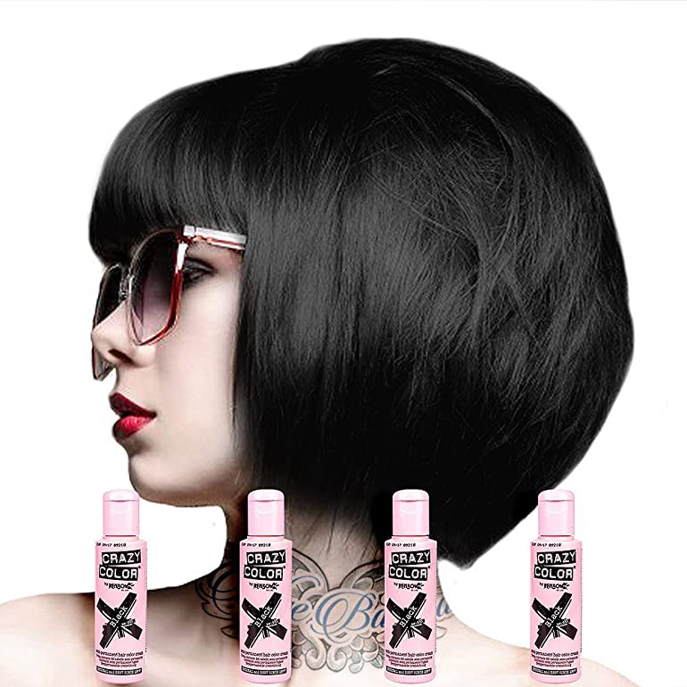 Crazy Colour Semi Permanent Hair Dye By Renbow Black No30 100ml Box Of 4 Amazoncouk Health Personal Care
