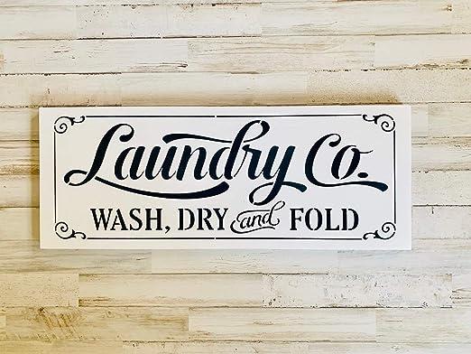 CELYCASY Laundry & Co - Cartel de Madera rústica - Color ...