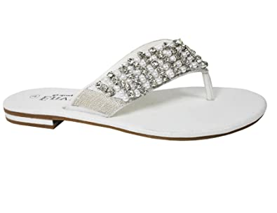 c72b6dcd7612 New womens flat diamante toe post ladies sparkly dressy party  sandals White 6