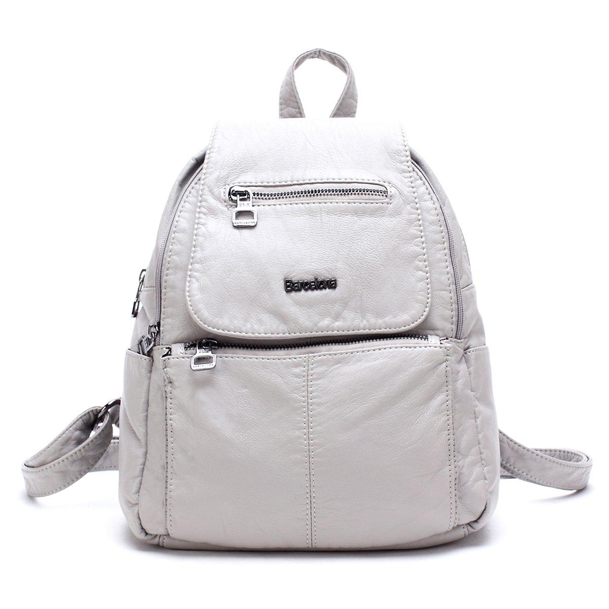 21KBARCELONA High Quality Washed PU Leather Backpack Handbag Women XS160433