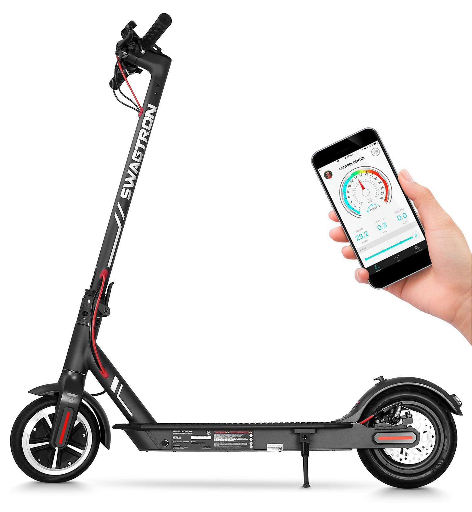Swagtron High Speed Electric Scooter with 8.5'' Cushioned Tires, Cruise Control and 1-Step Portable Folding - Swagger 5 by Swagtron