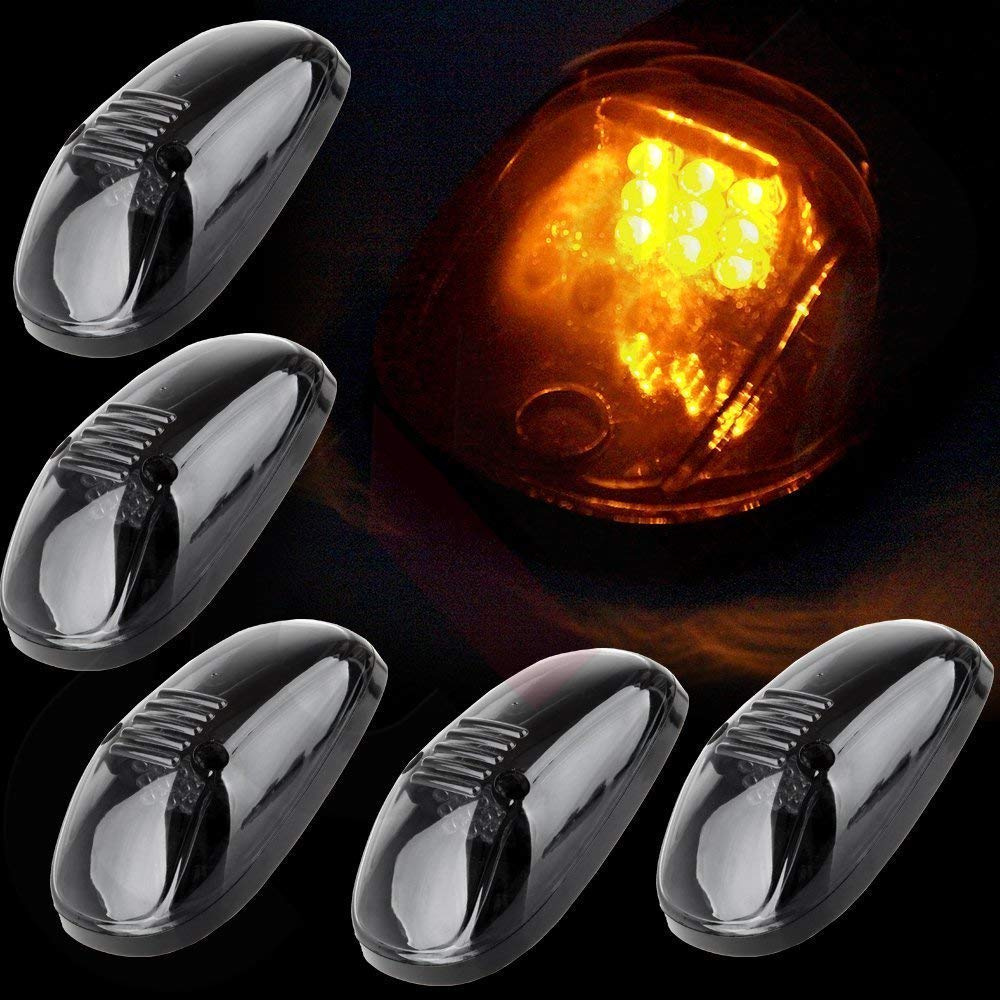 (Amber LED Lamps) 5pcs Smoke Cab Roof Top Running Marker 9 LED Lights Bulbs Replacement for 1999-2002 Dodge Ram and 1999-2016 Ford F/E Series Youxmoto