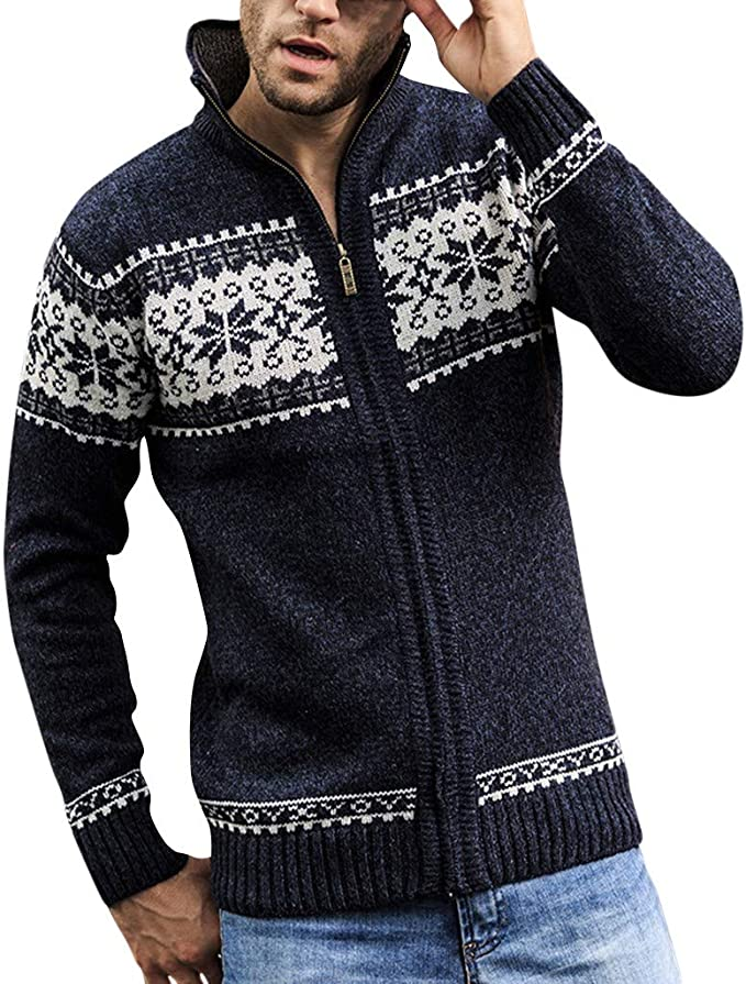 Cárdigan Chaqueta De Punto Grueso para Hombre Vintage Moda Abrigo ...