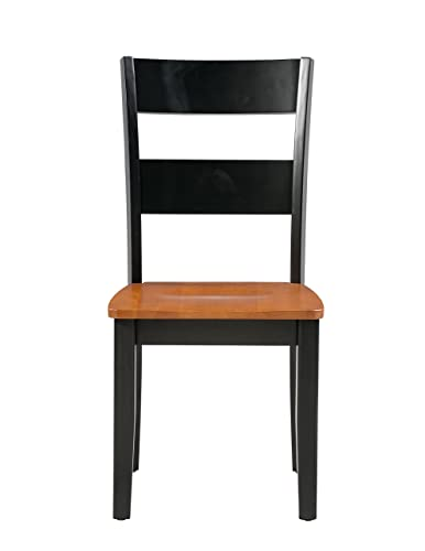 Trithi Furniture Fullerton Solid Wood Black Kitchen Dining Chair with Cherry Seat, Set of 2