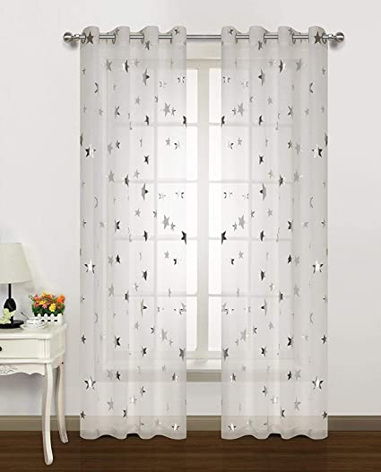 Amazoncom Silver Star Print Curtains White Sheer Window Drapes