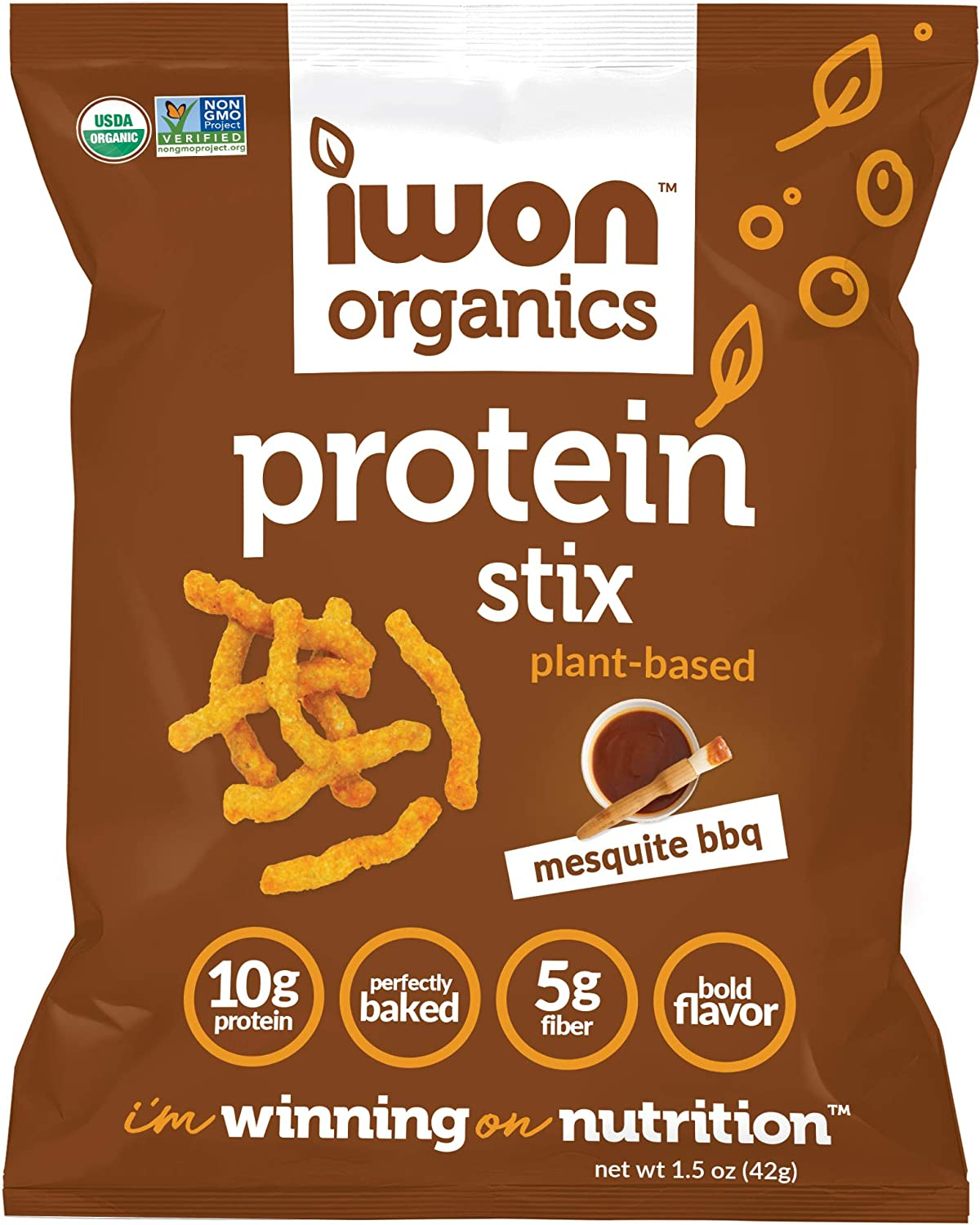 IWON Organics Mesquite BBQ Flavor Snack Stix, High Protein and Organic Healthy Snacks, 8 Bags, 1.5 Ounce