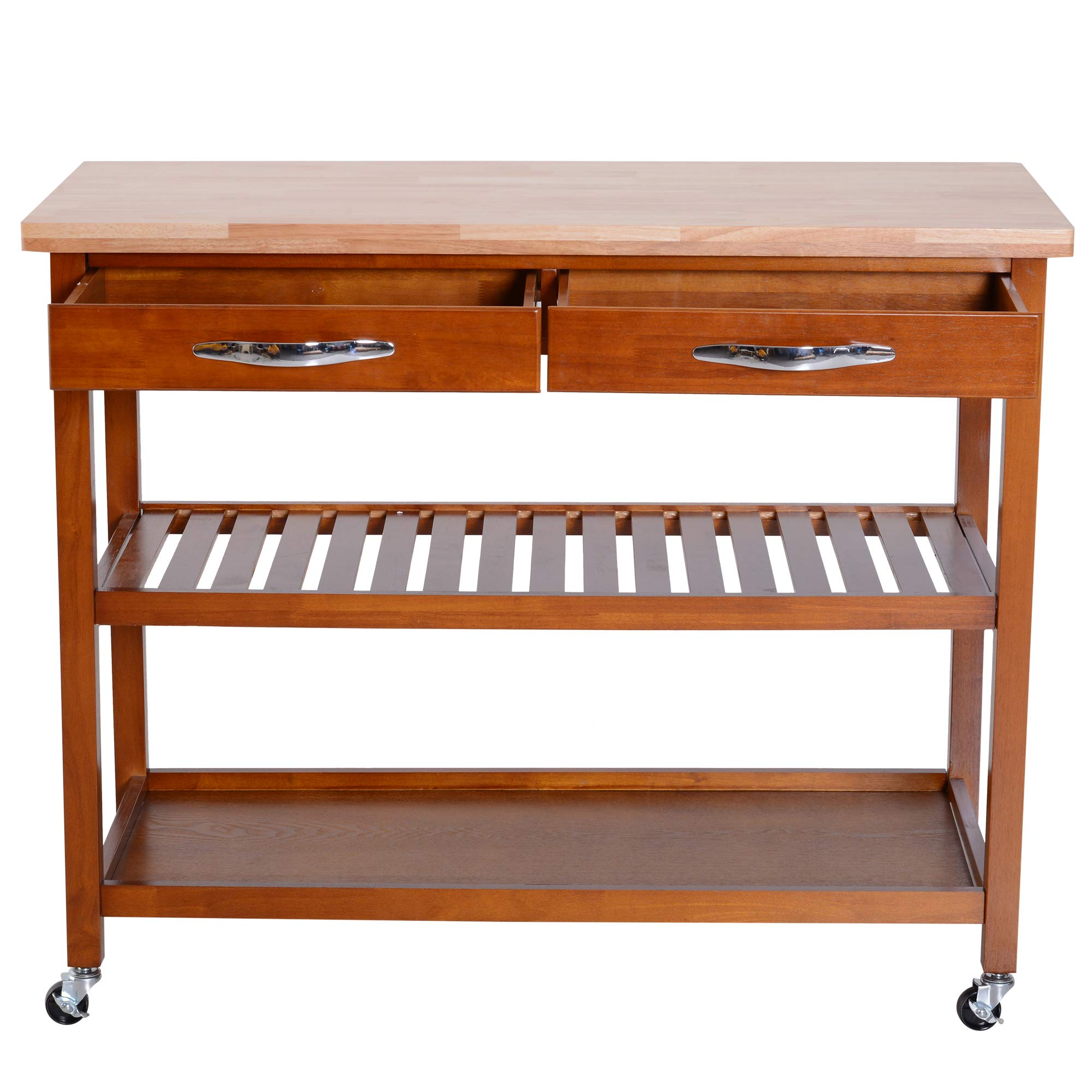 HOMCOM 44'' 3-Tier Rubberwood Kitchen Island Cart on Wheels - Brown by HOMCOM (Image #4)