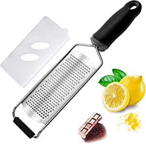 Cheese Grater — Cheese Lemon, Ginger, Garlic, Nutmeg, Chocolate, Vegetables, Fruits - Razor-Sharp Stainless Steel Blade, Wide, Dishwasher Safe