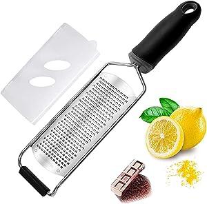 Cheese Grater — Cheese Lemon, Ginger, Garlic, Nutmeg, Chocolate, Vegetables, Fruits - Razor-Sharp Stainless Steel Blade, Wide, Dishwasher Safe