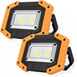 OTYTY 2 COB 30W 1500LM LED Work Light, Rechargeable Portable Waterproof LED Flood Lights for Outdoor Camping Hiking Emergency