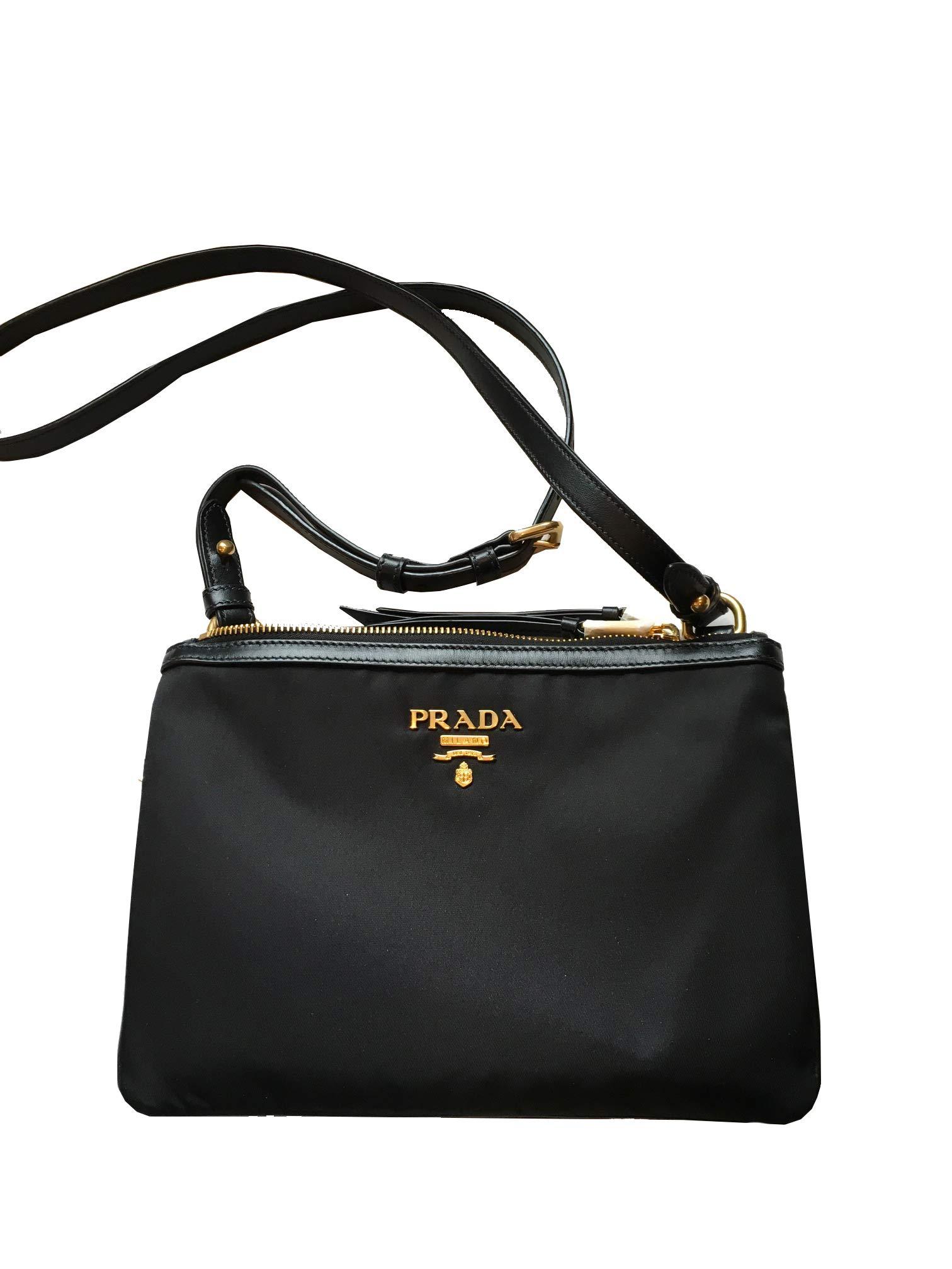16eea5b099f4 Prada Women s Over The Shoulder Handbag 1bh046 Black Nylon Cross Body Bag