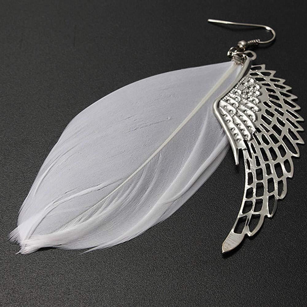 HELLOSAY Women's Angel Metal Wing Bohemian Handmade Vintage Feather Long Drop Earrings (White)