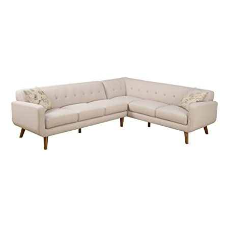 Emerald Home Remix Beige Sectional, with Pillows, Button Tufted Back, Telescoped Wood Legs, And Track Arm