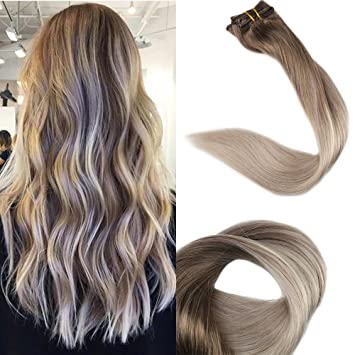 Hair Extensions Clip-in Full Head Full Shine Remy Clip In Balayage Hair Extensions 7pcs 100g Color #1b Fading To 12 And 18 Blonde Hair Extensions Clips In Hair