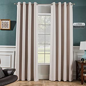Melodieux 100% Blackout Textured Curtains for Bedroom Living Room - Thermal Insulated Lined Window Drapes, 52 by 84 Inch, Beige (2 Panels)