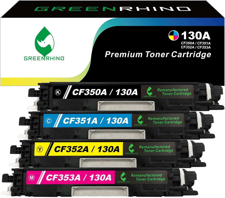 GREENRHINO Remanufactured Toner Cartridge Replacement for HP 130A CF350A CF351A CF352A CF353A M176 M176n M176fn M177 M177fw (1 Black, 1 Cyan, 1 Magenta, 1 Yellow, 4-Pack)