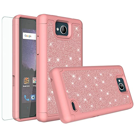 buy popular 4fbfa 7a831 [GALAXY WIRELESS] For ZTE Majesty Pro Case,ZTE Majesty Pro Plus  Case,Glitter Bling Hybrid Case [HD Screen Protector] Dual Layer Protective  Phone Case ...
