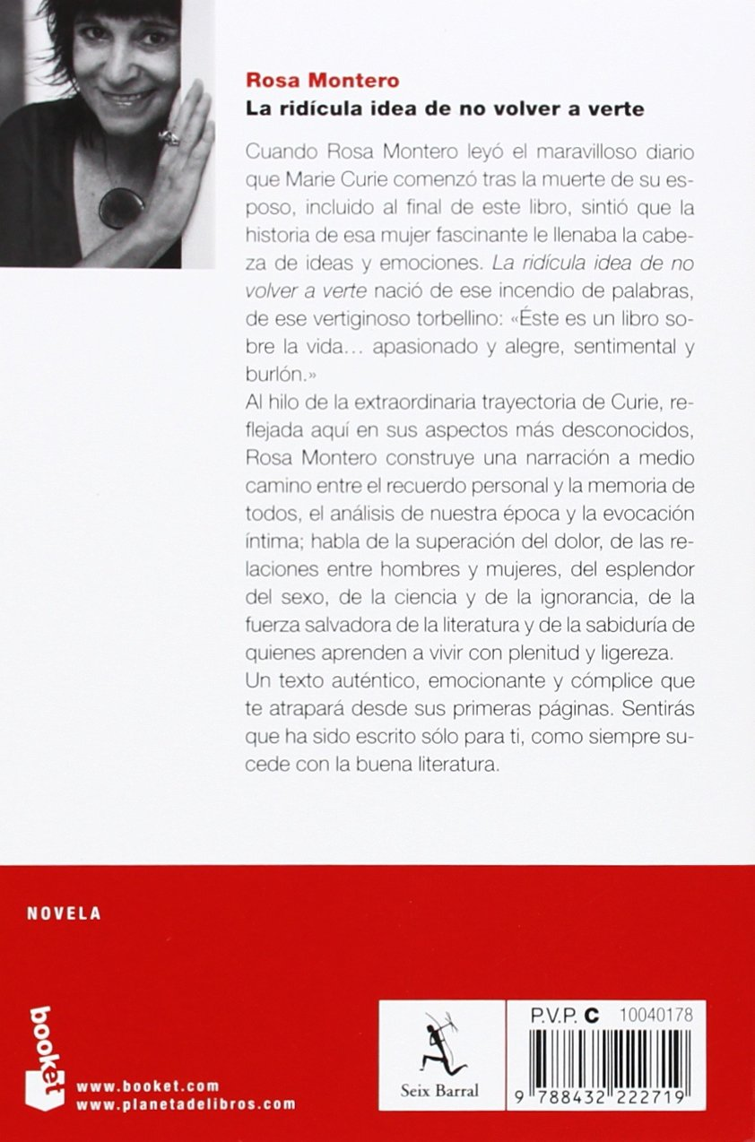 La ridícula idea de no volver a verte (NF Novela): Amazon.es: Rosa Montero:  Libros