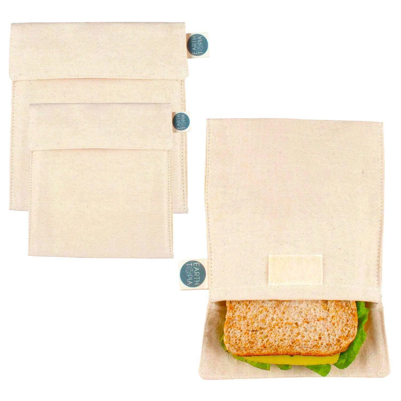 Earthtopia Paquete de 3 Bolsas para Almuerzo de Algodón Orgánico | Comercio Justo y Reutilizable | Bolsas para Sándwich y Bocadillos
