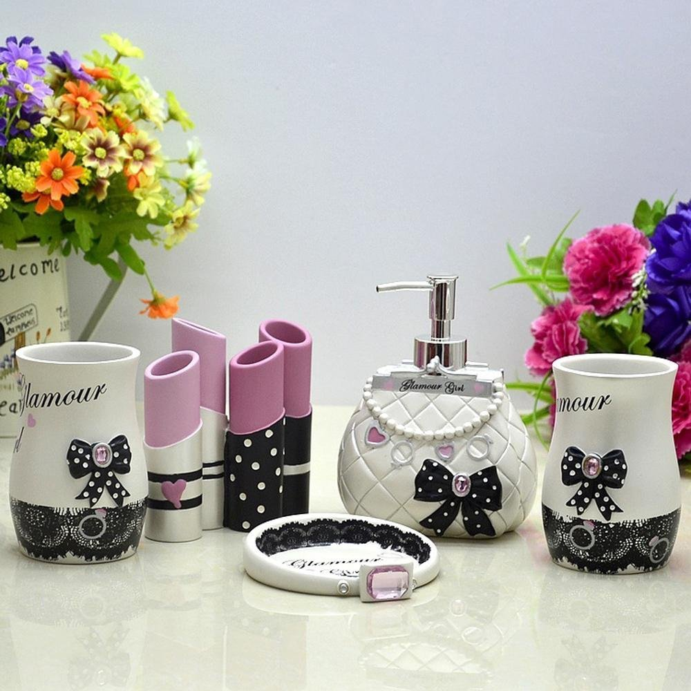 Bathroom ideas style modern glamour girl set resin with five piece of cover-YU&XIN