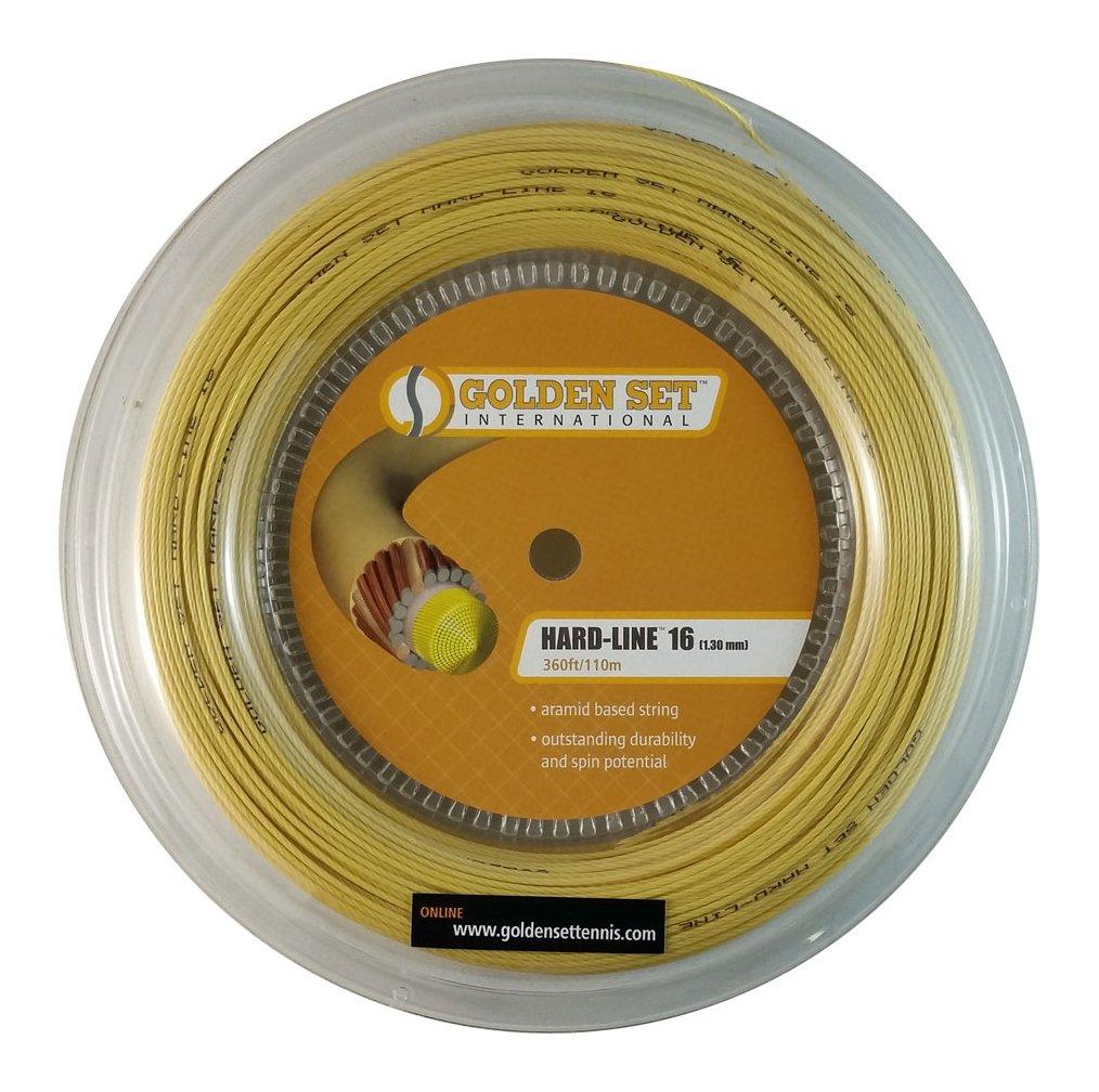 ab2bb73be3 Yellow Reel 1.30mm Aramid Tennis String Golden Set Hard-Line 16 360ft/110m