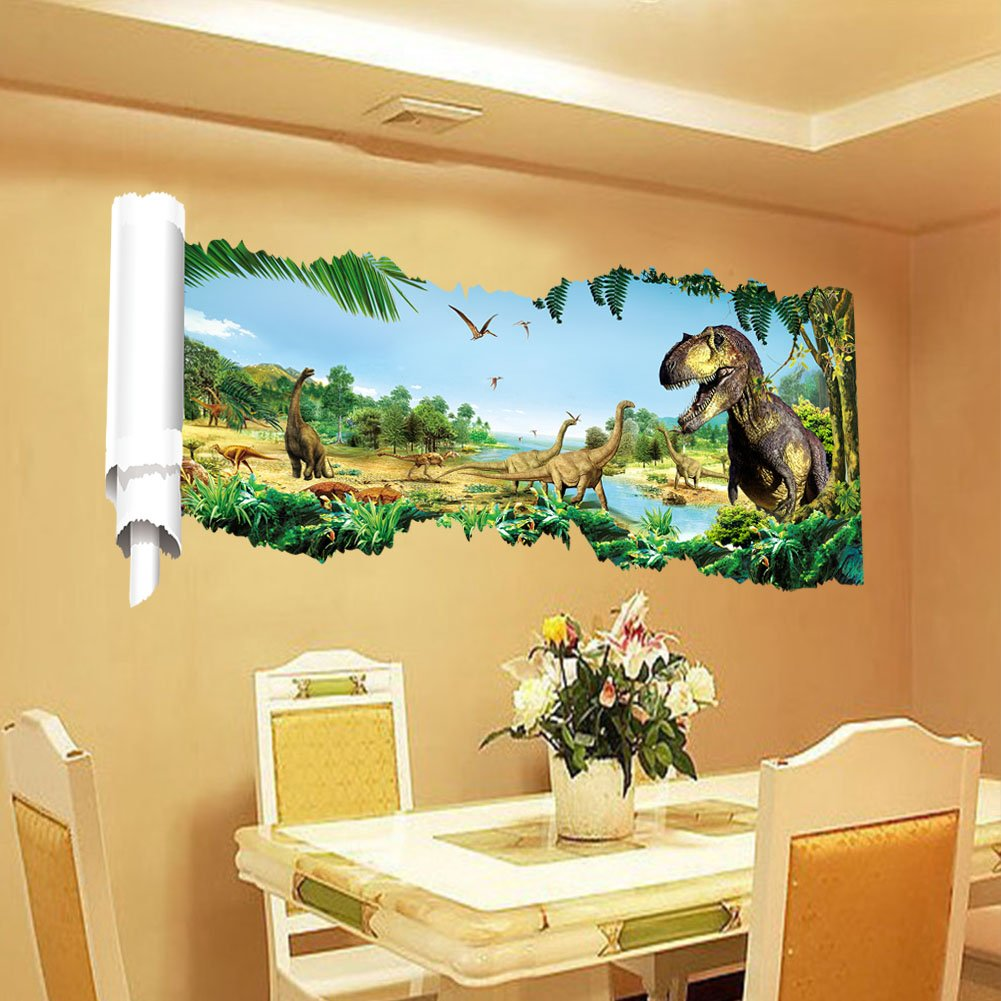 Zooarts Jurassic World Dinosaur Scroll Wall Decals Sticker For - 3d dinosaur wall decalsd dinosaur wall stickers for kids bedrooms jurassic world wall
