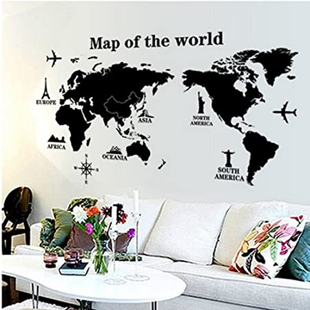Large world map vinyl wall decal sticker atlas poster amazon large world map vinyl wall decal sticker atlas poster gumiabroncs Choice Image