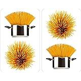 WENKO 2521450100 Coprifuochi vetro Universale Spaghetti - set 2 pezzi, per tutti i tipi di piani di cottura, Vetr - Vetro temperato, 30 x 1.8-4.5 x 52 cm, Multicolor