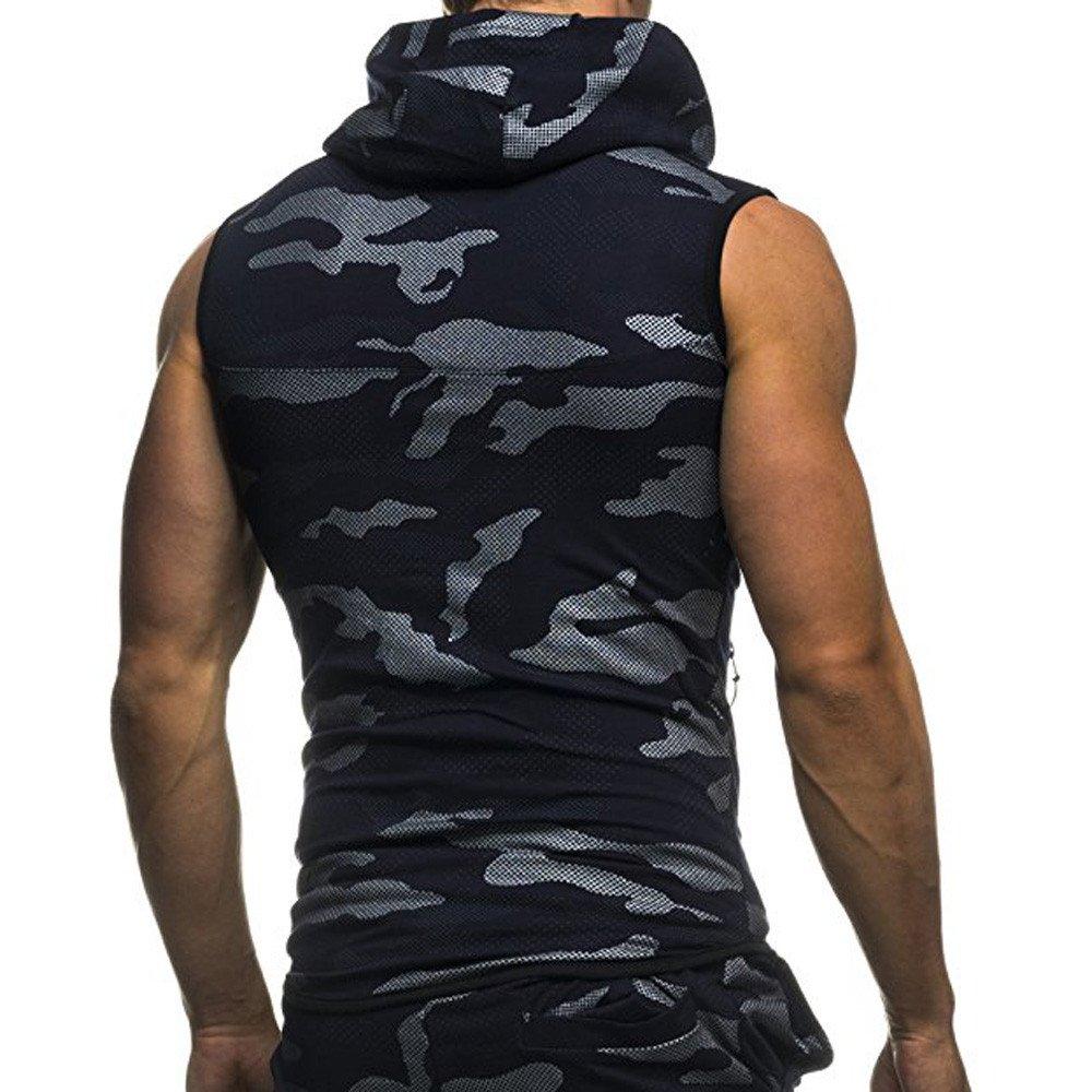 Mymyguoe Sudadera con Capucha Camuflaje sin de los Hombres Superior Chaleco Camisetas Tallas Grandes para Hombres Basicas Tops Verano Casual T-Shirt Top Vest Blouse