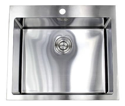 25 Inch Topmount Drop In Stainless Steel Single Bowl Kitchen Sink