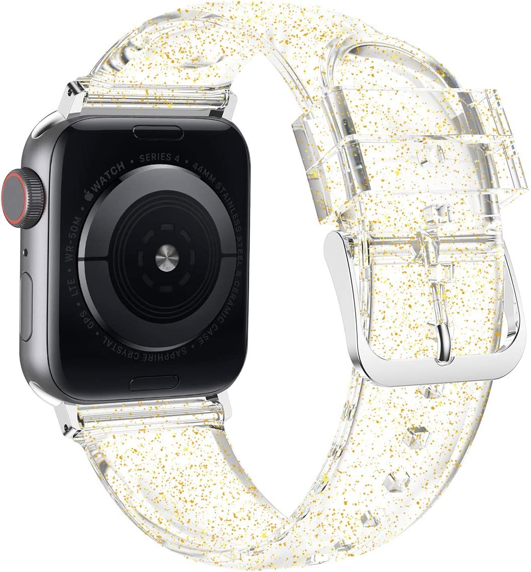 Wolait Compatible with Apple Watch Band 44mm 42mm, Premium Clear Glitter Soft Silicone Strap for iWatch Series 6 SE Series 5/4/3/2/1 Women Girls ,42mm/44mm Clear +Gold