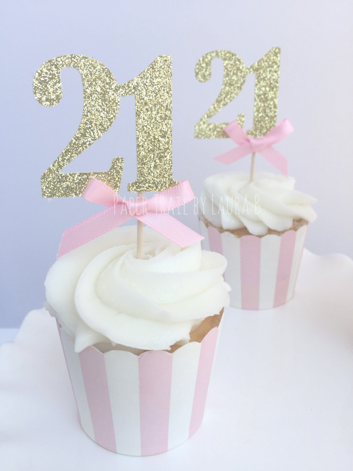 Amazon Com Pink Gold Glitter Number Cupcake Toppers 21st Birthday