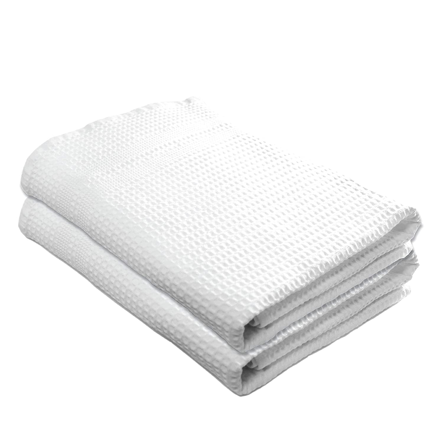 Gilden Tree Premium Bath Towels 2 Pc Set 100% Natural Cotton Quick Dry Waffle Weave Lint Free Soft Luxurious Fabric Solid Colors Oversized Thin Cloth Fade Resistant (White)