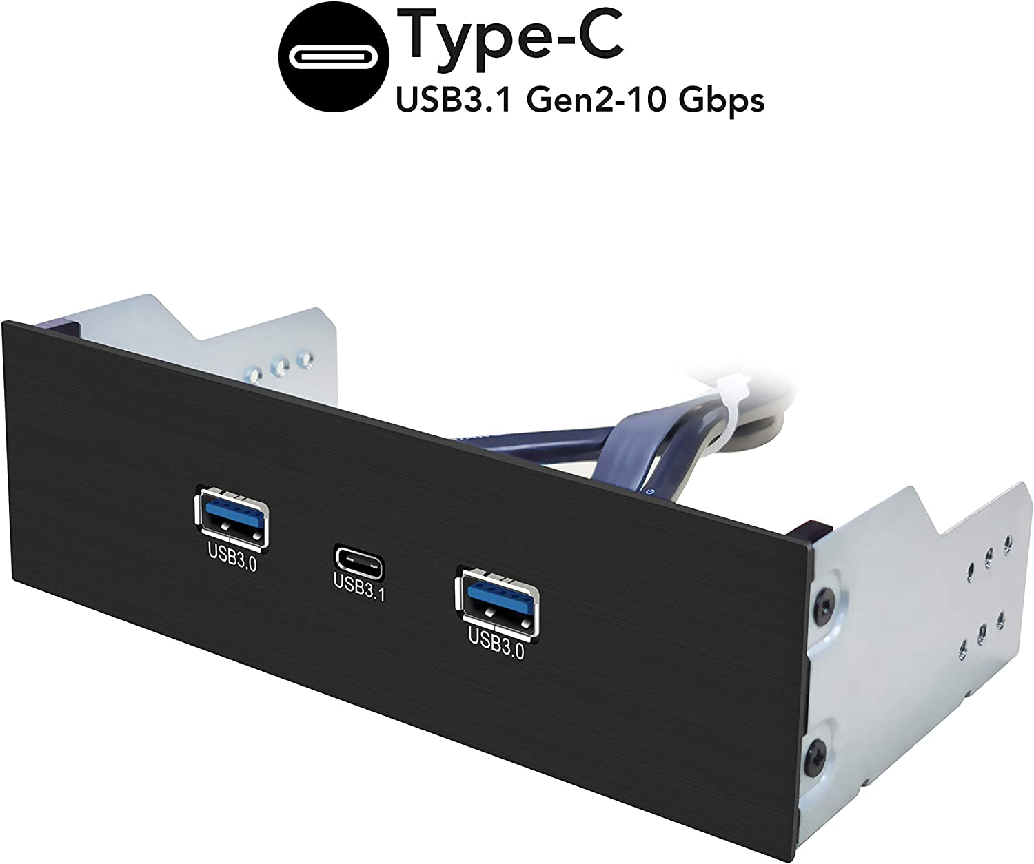 EZDIY-FAB 2-Port USB3.0 Type A and USB3.1 Type C GEN 2-5.25 inch Front Panel USB Hub with 20 pin Connector- 73 cm Cable, Metal Front Panel USB Hub